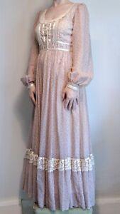 vintage gunne sax pink floral long sleeve maxi dress