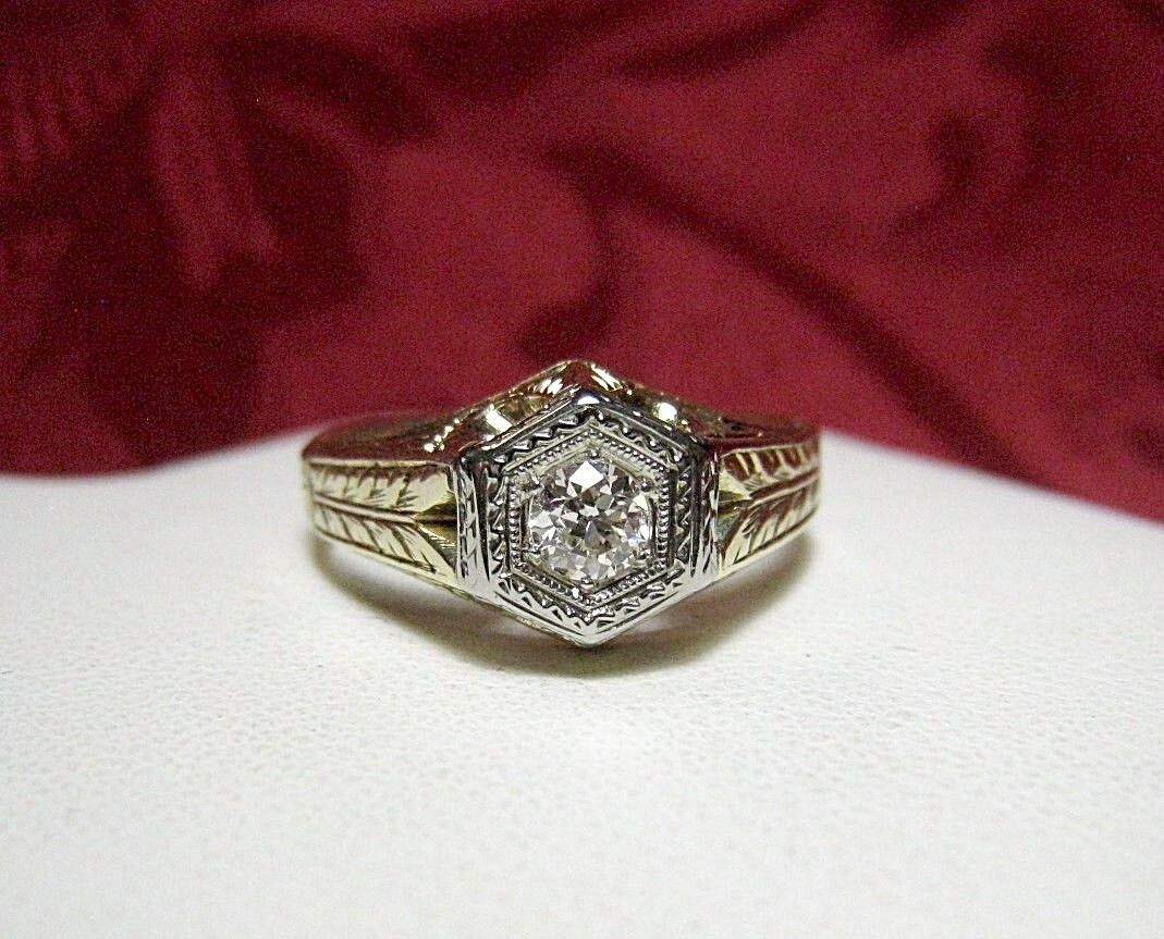 ANTIQUE 14K TWO-TONE gold DIAMOND ENGAGEMENT RING .30 CTW ETCHED VINTAGE SIZE 10
