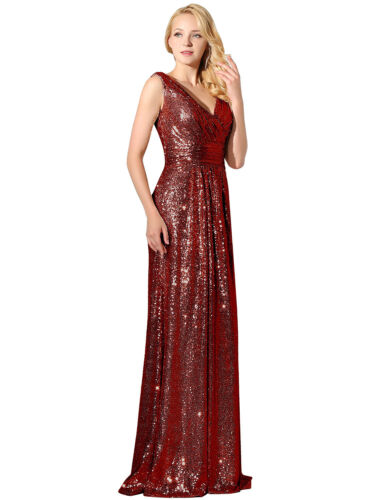 Plus Formal Bridesmaid Wedding Sequin Dresses Long Women Prom Ball Party Gown 14