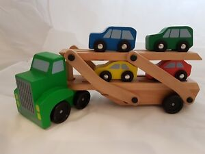 Details About Melissa Doug Car Carrier Truck And Cars Wooden Toy Set With 1 Truck And 4 Cars