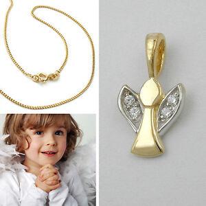 Kinder Zirkonia Schutz Engel Silber 925 Bicolor Mit Kette Silber 925 Vergoldet