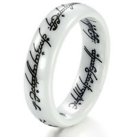 Vintage Lotr Ring White Ceramic Lord of The Rings Wedding Band Sz M-T1/2