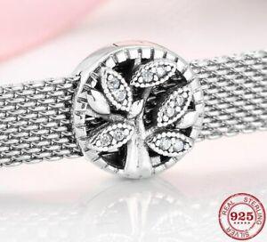 Reflexion Clip Charm für Pandora Armbänder Echt Silber 925 Baum des Leben Zirkon