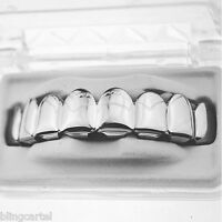 Grillz Eight Tooth 8 Top Teeth Platinum Silver Tone Upper Row Hip Hop Men Grills