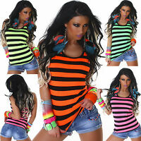 New Women Clubbing Vest Top Sexy Ladies Striped Hot Party Shirt Size 6 8 10 12