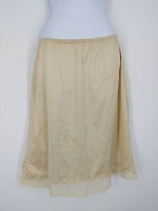Vintage Wondermaid Lingerie Gold Beige Shiny Nylon Half Slip Lace Trim Large