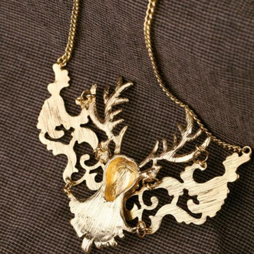 Charmant Elk Cerf Pendentif Vintage Bib Déclaration exquis Collier Bijoux Cadeau
