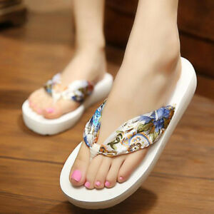 75950c45731519 Image is loading Summer-Beach-Sandals-Bohemia-Floral-Wedge-Platform-Thongs-