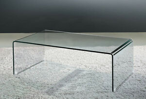 Glass waterfall style coffee table ebay One piece glass coffee table