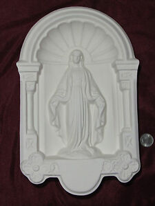 Ceramic Bisque Vintage Madonna Virgin Mary Wall Hanging U Paint Religious