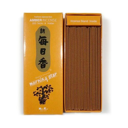 Japanese Nippon Kodo Morning Star AMBER Incense 200 Sticks with Incense Holder