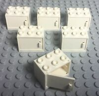 Lego X6 White Cupboard Container With Door / City Kitchen Garage Cabinets