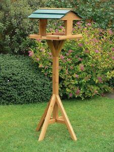 Traditional-wooden-bird-table-garden-birds-feeder-feeding-station-free-standing