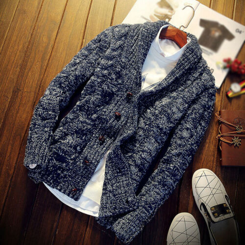 Mens Chunky Collared Cardigan Thick Warm Shawl Winter Sweater Knitted Jumper G1
