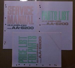 Details about 3 book lot AKAI aa-6200 Service Manual original Repair book  stereo parts list