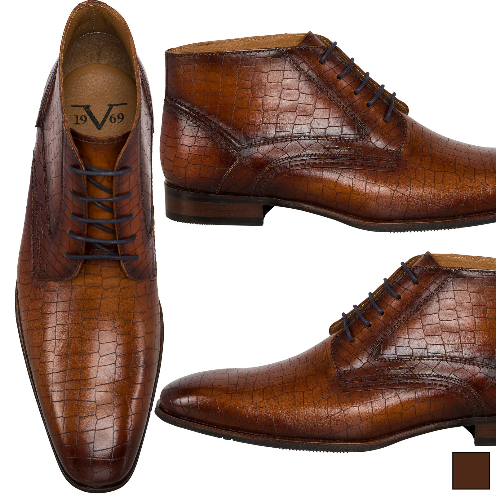 19V69 Versace 1969 Chelsea Stiefel Kroko-Style, Herren (V46)