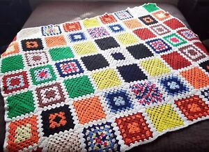 Vintage Crocheted Afghan Granny Square Blanket Throw Colorful 70s