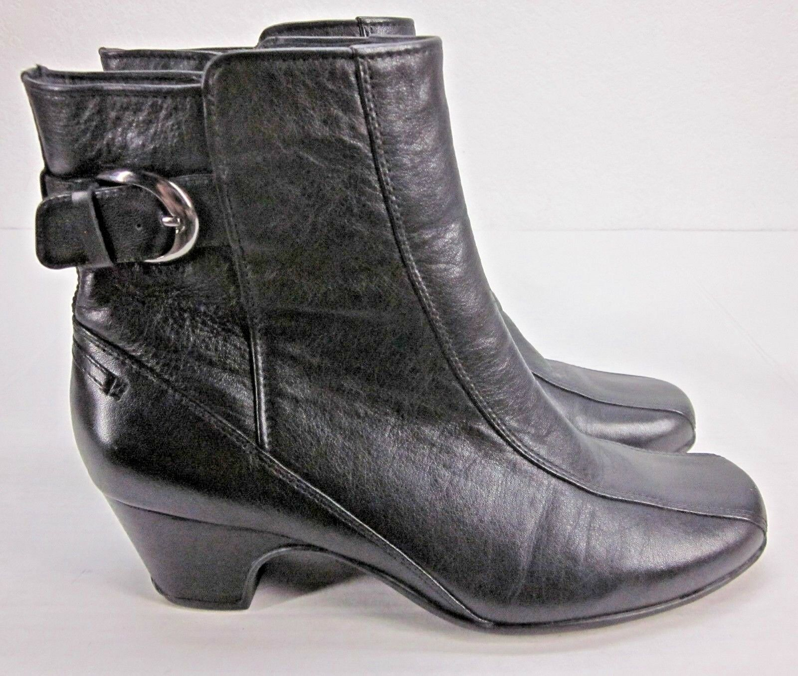 CLARKS Artisan Women's Dara II Boot Inside Zip Buckle Accent Black Leather 8.5M