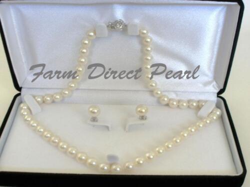 """Véritable 8-8.5mm Perle Blanche Collier Boucles d/'oreille d/'eau douce 18/"""" Pouces Set AAAA"""