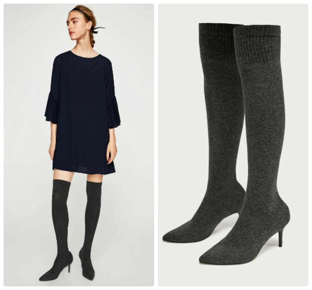 Zara gris sobre la rodilla Taco Alto Elástico botas UK UK UK Tamaños 3 & 8 Etiquetas Nuevas  buen precio