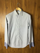 """JOHN FRANCOMB T.M.LEWIN SHIRT TOP Grey & White Fully Fitted 15.5"""" / 39cm - VGC"""