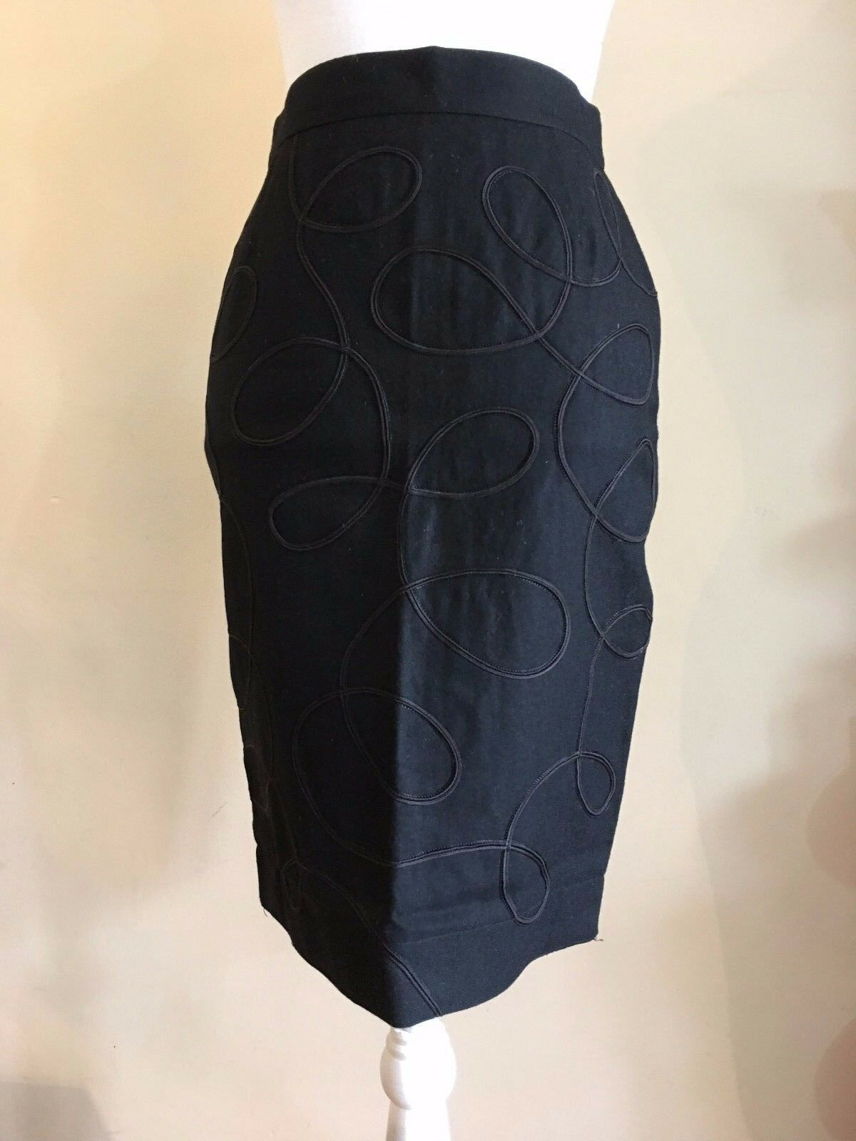 FONTANA MILANO COUTURE BY VENEZIANO 100% WOOL EMBELLISHED PENCIL SKIRT38ITALY