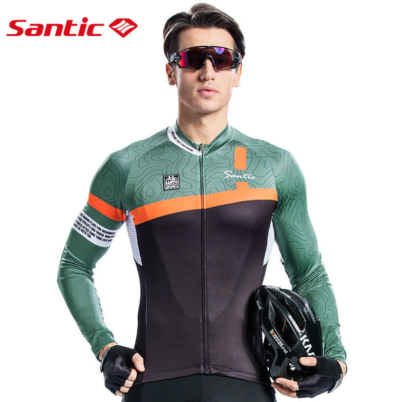 Santic Uomini Sport ciclismo a maniche lunghe SUN ProssoECTION Outdoor Ciclismo Top Maglie