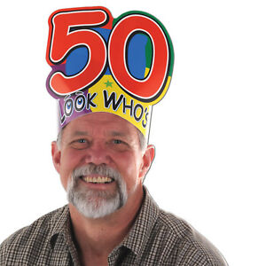LOOK-WHO-039-S-50-CARD-BIRTHDAY-CROWN-HAT-50TH-PARTY-FUN