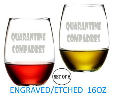 Set of 2 16 Oz Stemless Wine Glasses Shark Lead-Free Etched Engraved