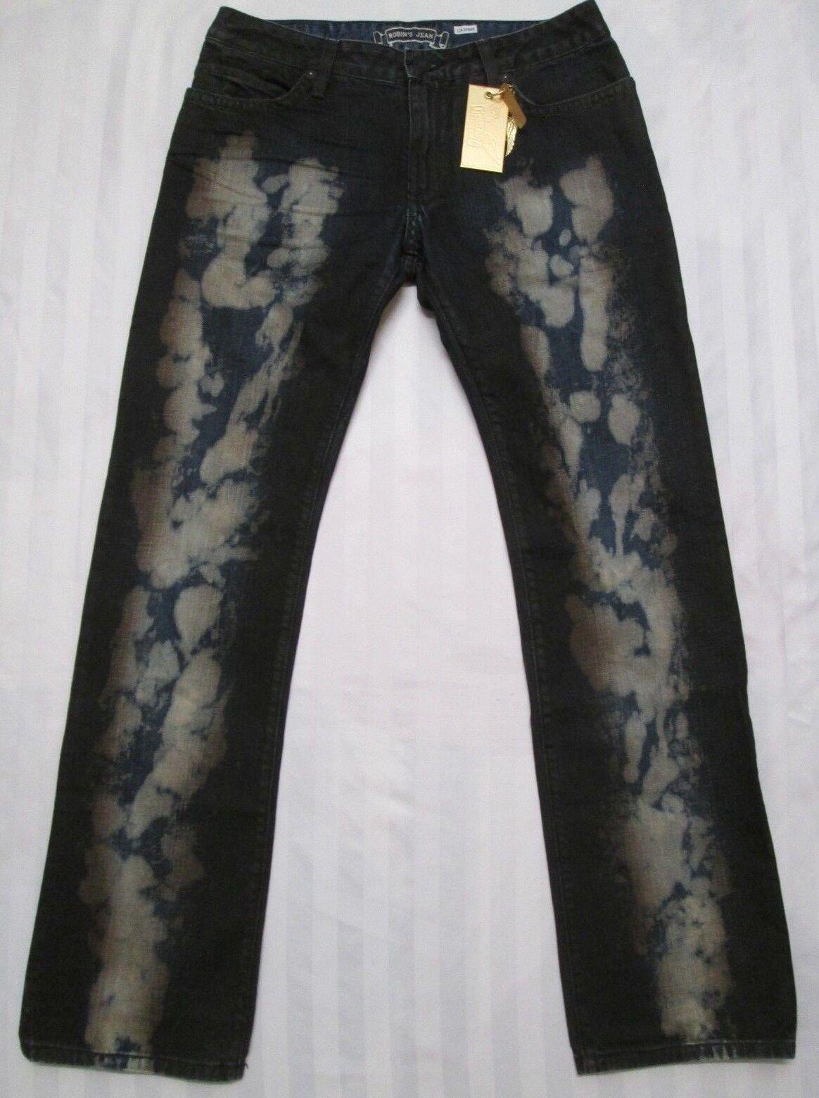 ROBIN'S JEAN Mens LONG FLAP Bleached Denim Straight Leg Jean Pant D5696