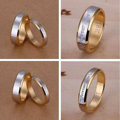 NEW wholesale JEWELRY Forever LOVE Solid 18K Gold Men/Women Ring Size6-10 925Box