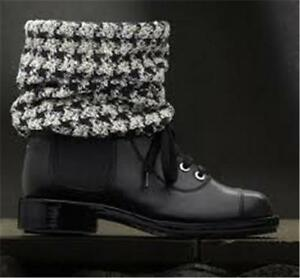 3d094e0a40b3a CHANEL Combat Cap Toe Lace Up Check Tweed Sock Ankle Booties Boots ...