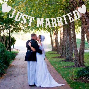 Just-Married-Mariage-Banniere-Papier-Carte-Bunting-Mariage-Artisanat-Decor