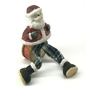 Vtg Santa Claus Doll Christmas Holiday Decoration Plaid Pants Seated on Drum