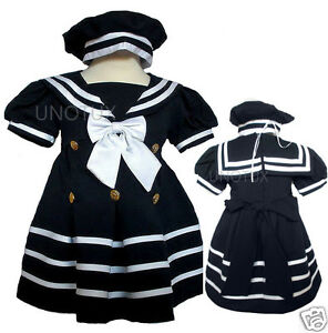 New Baby Girl Toddler Easter Formal Nautical Sailor Dress sz S M L XL 2T 3T 4T
