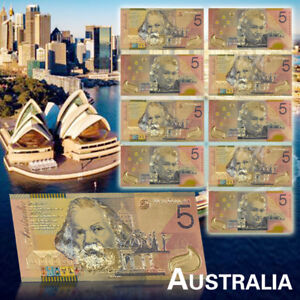 WR-10X-New-Australian-5-Dollar-Fine-Quality-Colorful-Banknotes-With-Certificates
