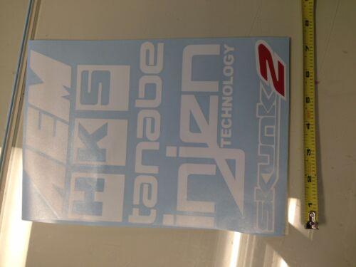 x5 pack AEM HKS Tanabe Injen Skunk2 WHITE Sticker decal Car window jdm roll call