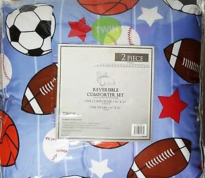 Boys-Sports-Twin-Comforter-Set-Reversible-with-Sham-2pc-Basketball-Soccer-New