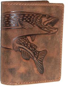 Hecht Fisch Angel Naturleder Geldbörse  Büffelleder Minibörse Portmonai RFID/NFC