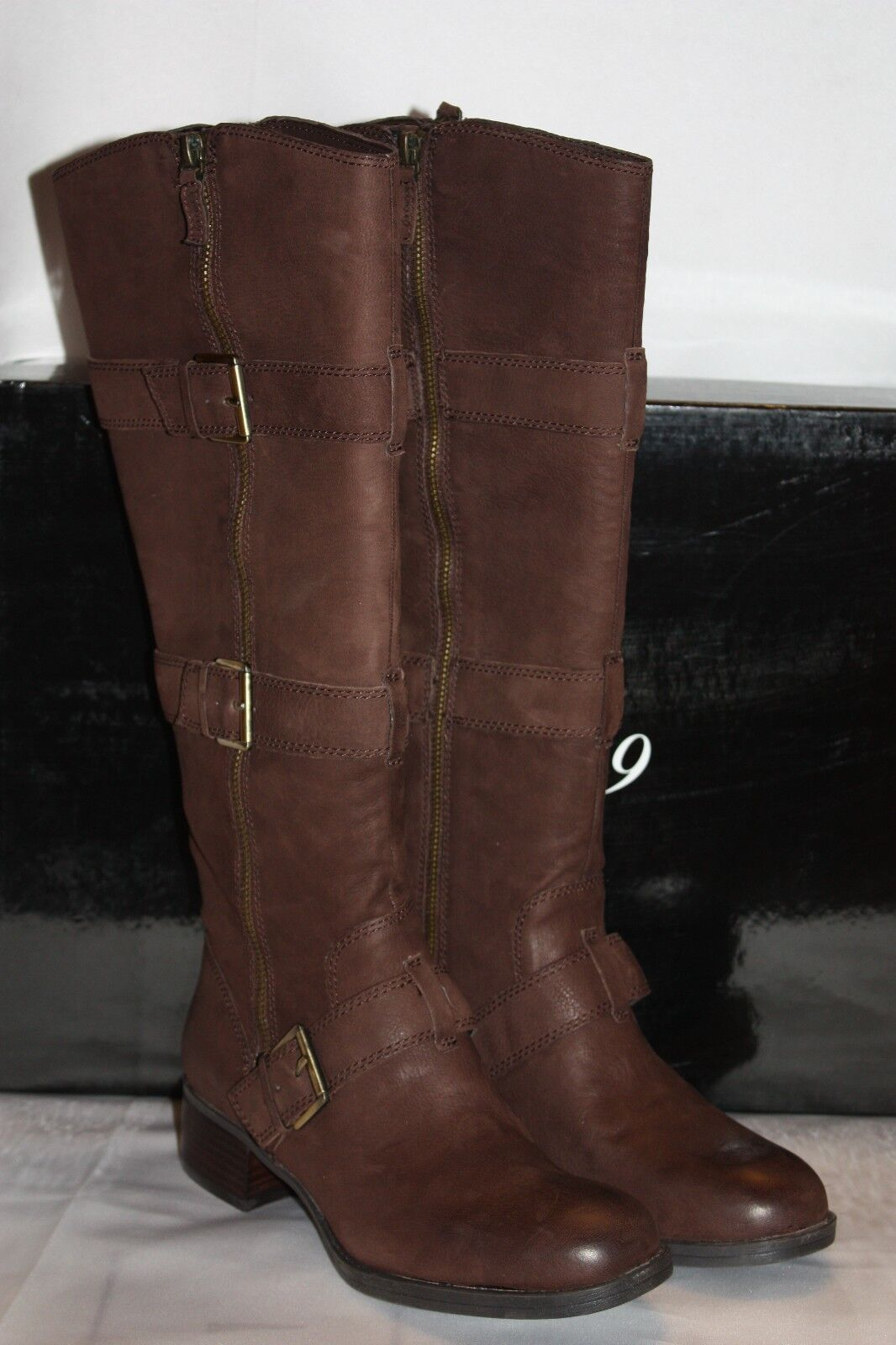 NEW  NIB  BOUTIQUE 9 Dark Brown Leather DACIA Tall Buckle Boots  275