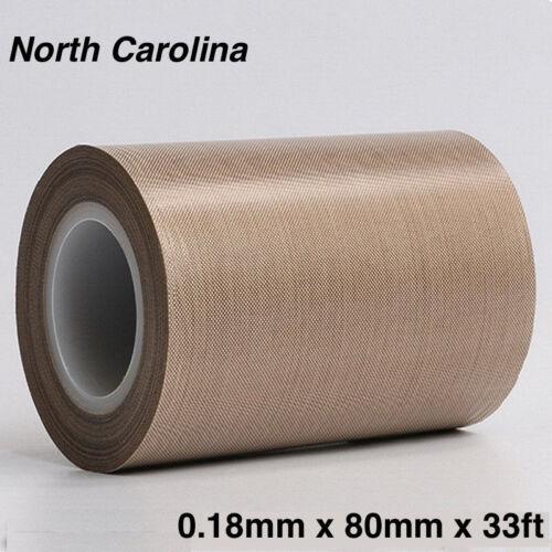 New PTFE Teflon Tape adhesive 80mm x33ft 180um thicker 662℉ high-temp Fiberglass