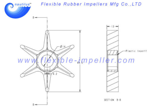 YAMAHA Outboard Water Pump Impeller 6G0-44352-00-00 for 20A 20B 25A 20hp 25hp