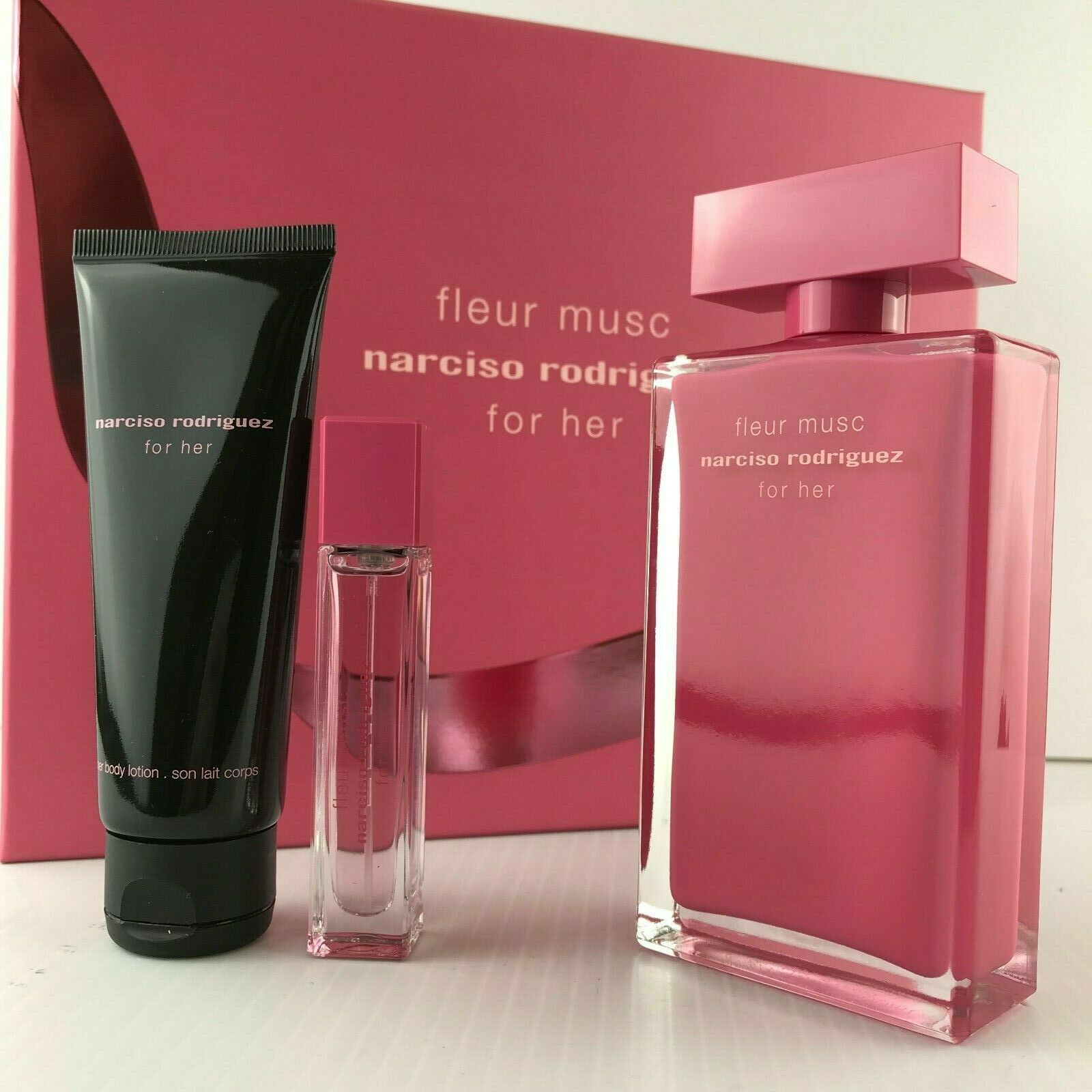 Details about NARCISO RODRIGUEZ FLEUR MUSC Her 3PC SET EDT SPRAY 3 3 +  LOTION 2 5 OZ + MINI