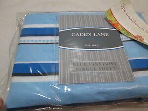 New Caden Lane Nursery BLUE PINSTRIPE Crib Fitted Sheet - Blue, White, Black