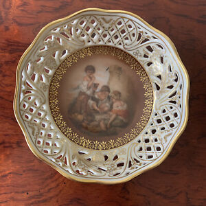 """Vintage Schumann Arzberg Germany Reticulated Bowl Children Playing Dice 5"""""""