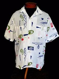 VERY-RARE-COLLECTIBLE-QUALITY-1950-039-S-WHITE-COTTON-ATOMIC-PRINT-SHIRT-SIZE-LARGE