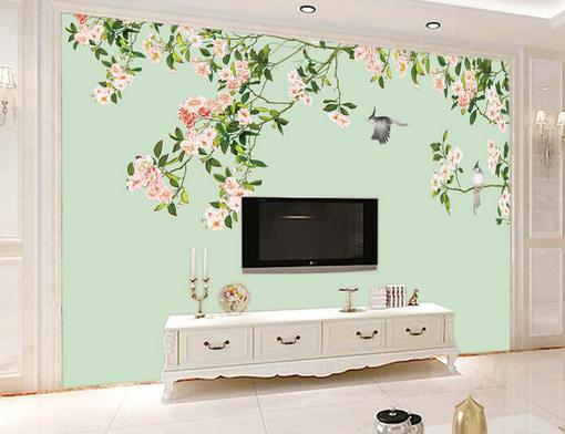3D Grauer Vogel Blaumen Baum 451 Tapeten Mauer Foto Familie Tapete Wandgemälde