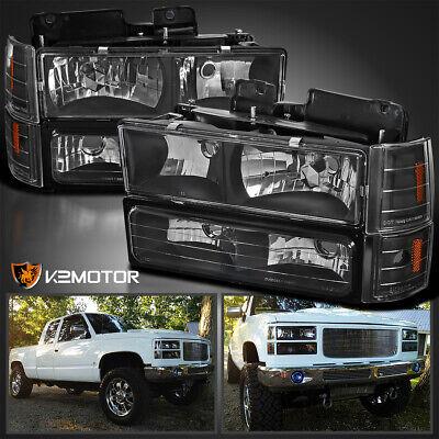 For 90s Chevy GMC C//K Blazer Suburban Tahoe Silverado Yukon Sierra Black Bezel LED Bumper Light Lamp