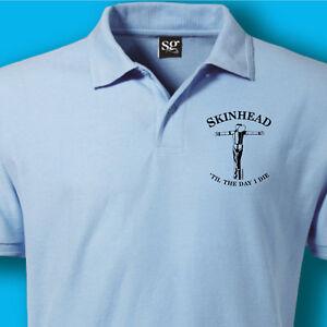Skinhead-Til-I-Die-Oi-MADNESS-SKA-SCOOTER-SkA-MENS-Polo-Shirt-T-SHIRT-BLUE