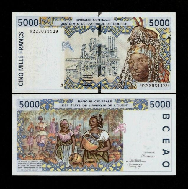 WEST AFRICAN STATES IVORY COAST 5000 FRANCS P113A 1992 UNC  SHELL PLANT BANKNOTE